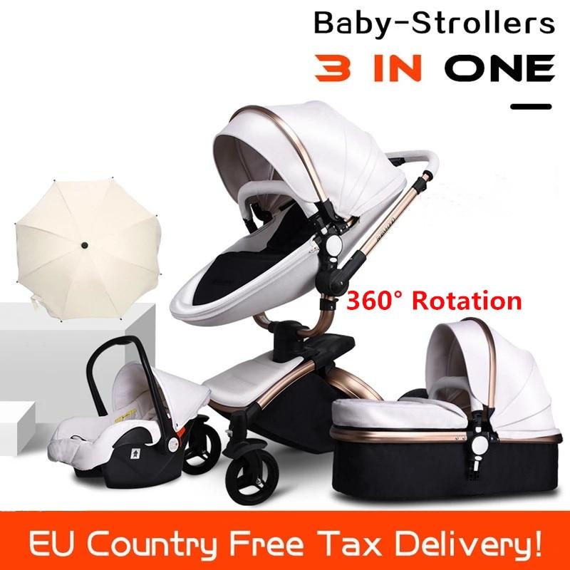 Free Ship Leather 3 in 1 Baby Stroller Two Way Suspension 2 EU Safety Car Seat Newborn Bassinet Send Umbrella