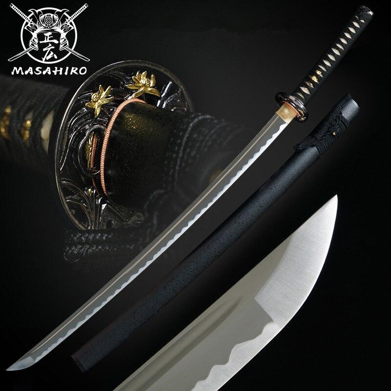 اليدوية اليابانية كاتانا كامل تانغ الصلب الحقيقي مع الأخدود الدم اليدوية سيف ساموراي الأسود سايا شارب بليد