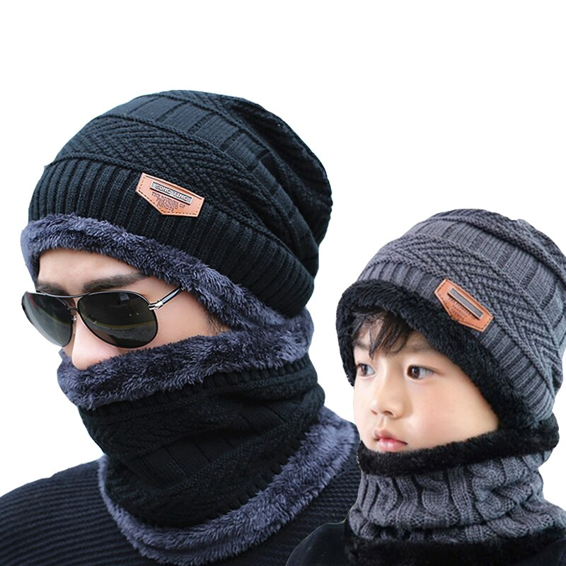 2021 Winter Hats Men's Hat Family Matching Parents Children Beanie Scarf Set шапка мужская Soft Thick Warm Caps шапка зимняя недорого