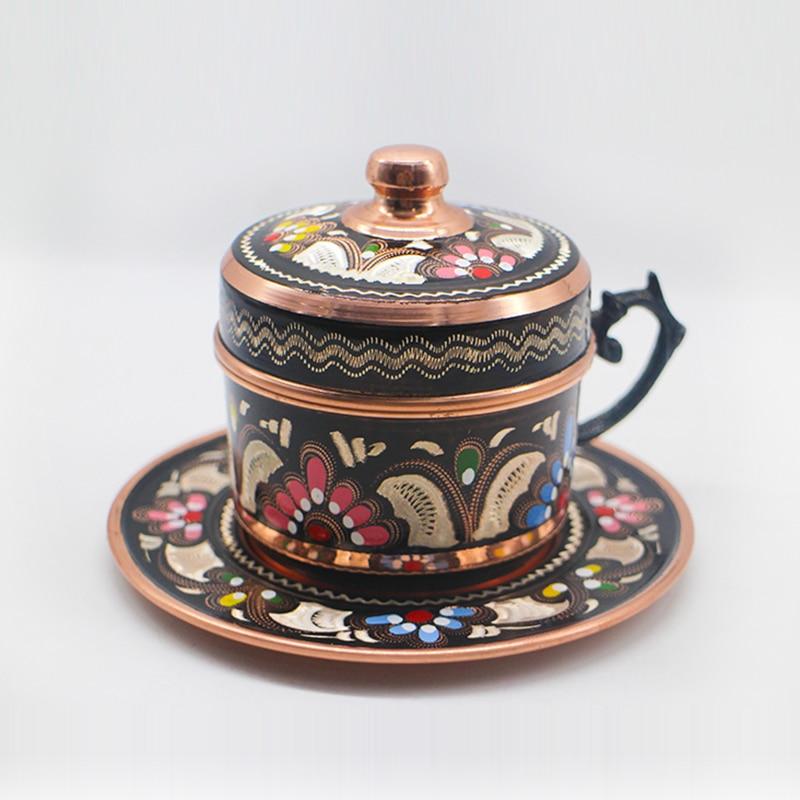 فنجان قهوة تركي مطلي بالمينا ، على الطراز الأوروبي ، نحاسي تقليدي ، فنجان إسبريسو وصحن بورسلين وغطاء