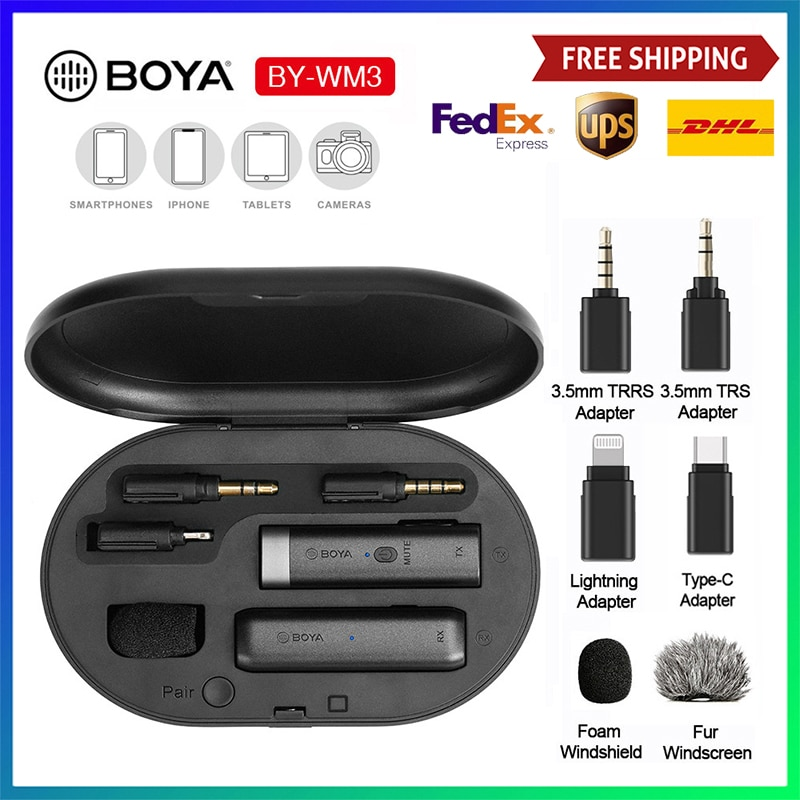 Get BOYA BY-WM3D Plug&Play Microphone for iPhone  Mini 2.4G Wireles Microphone with Lightning TRS TRRS Port, Charging Case for IOS