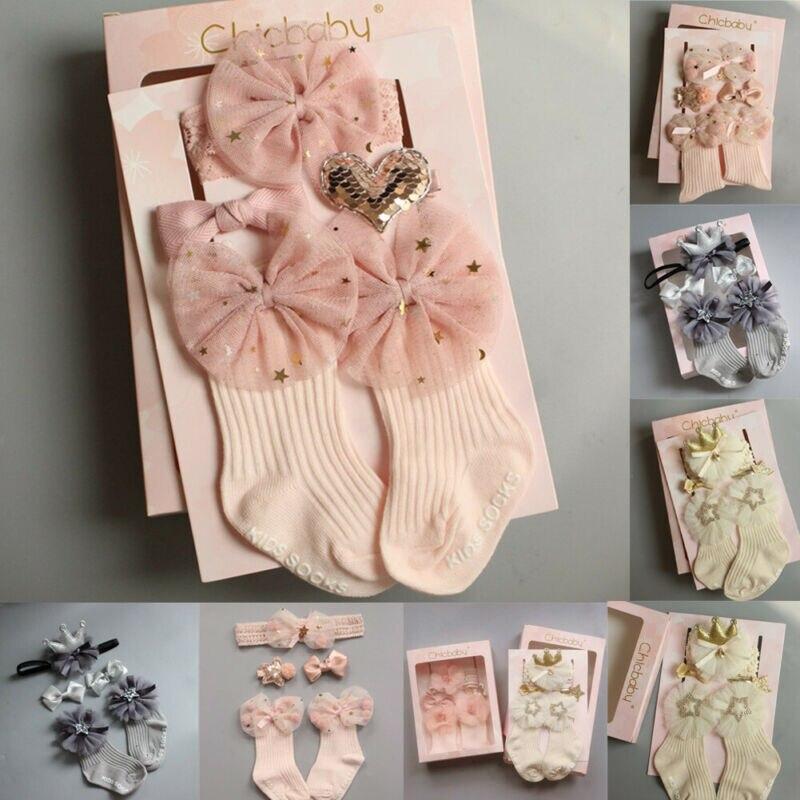 4 piezas bebé recién nacido niñas encaje Frilly calcetines arco tobillo antideslizante calcetines Zapatos