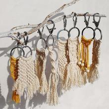 Dvacaman macramé gland porte-clés porte-clés porte-clés pour dames à la main porte-clés petit ami cadeau fille mignon porte-clés breloque pour sac