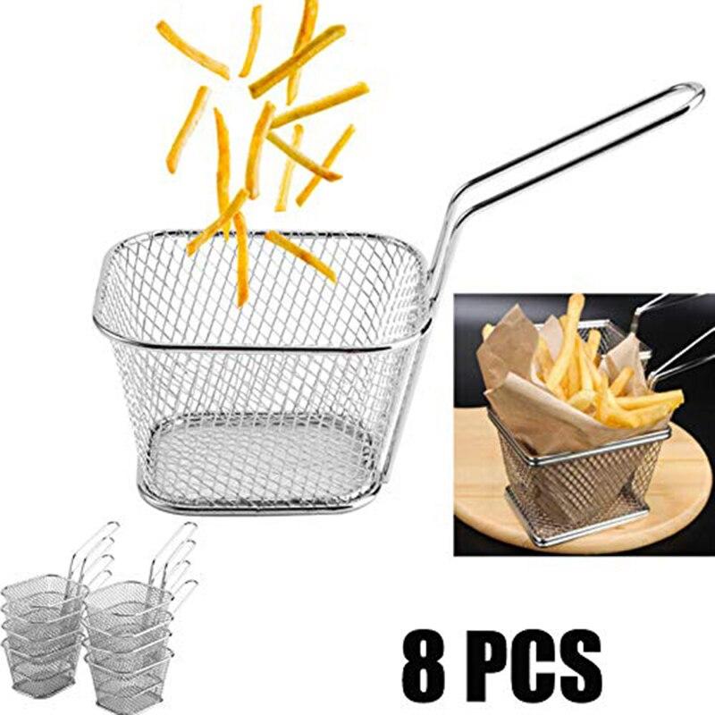 Paniers à frites en acier inoxydable, Mini paniers à frites, passoire de présentation des aliments, outil de cuisson des pommes de terre, 8 pièces