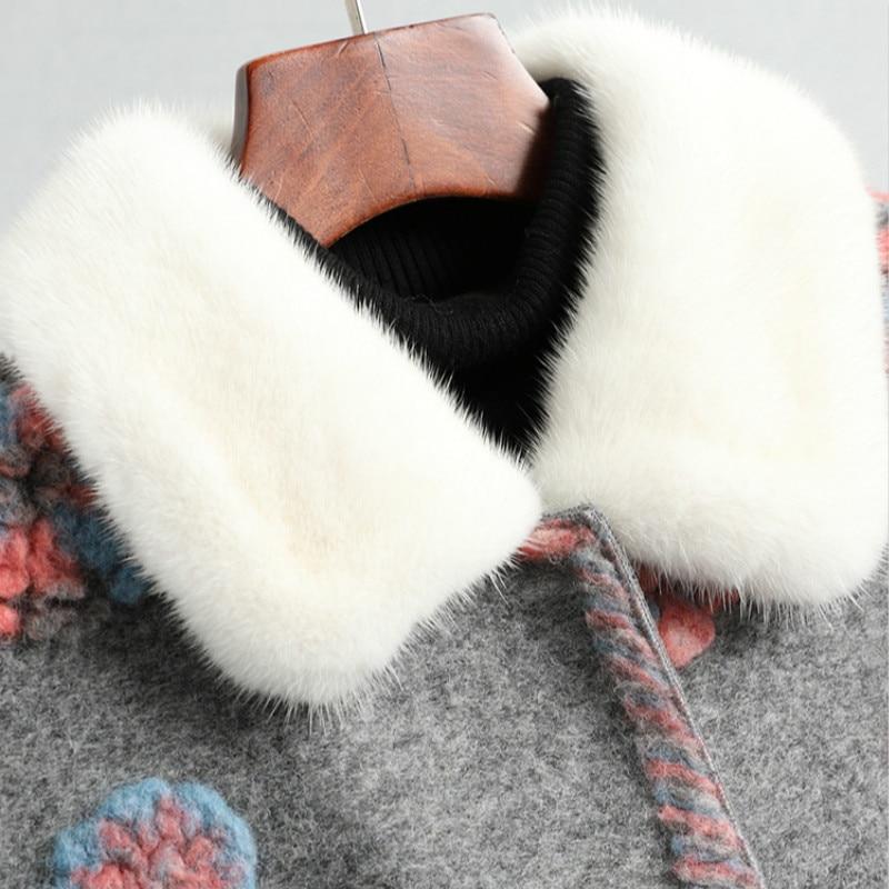 Shearing Real Winter Sheep Coat Mink Fur Collar Floral Long Jacket Women Clothes 2020 WPHYJR009 YY2242