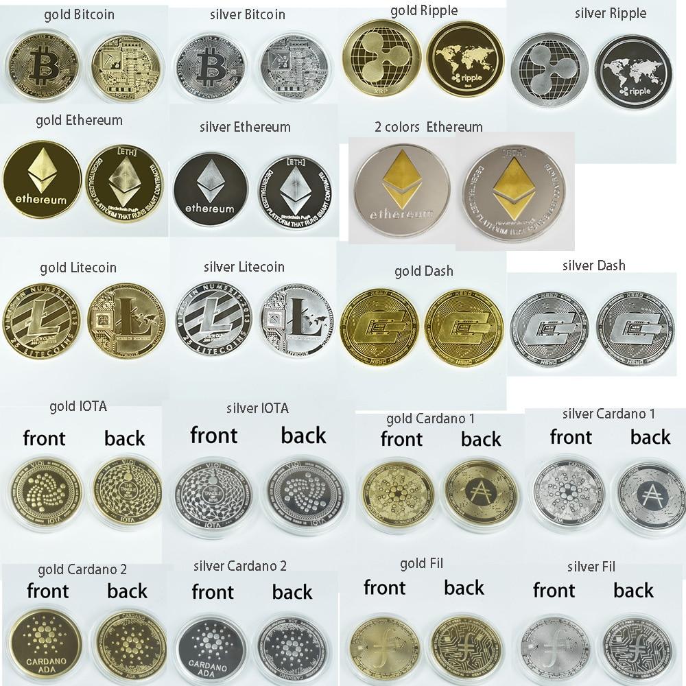 Позолоченная Биткоин Бит монета рябь Litecoin эфириум коллекция подарок 40 мм криптовалюта монета металлическая памятная монета
