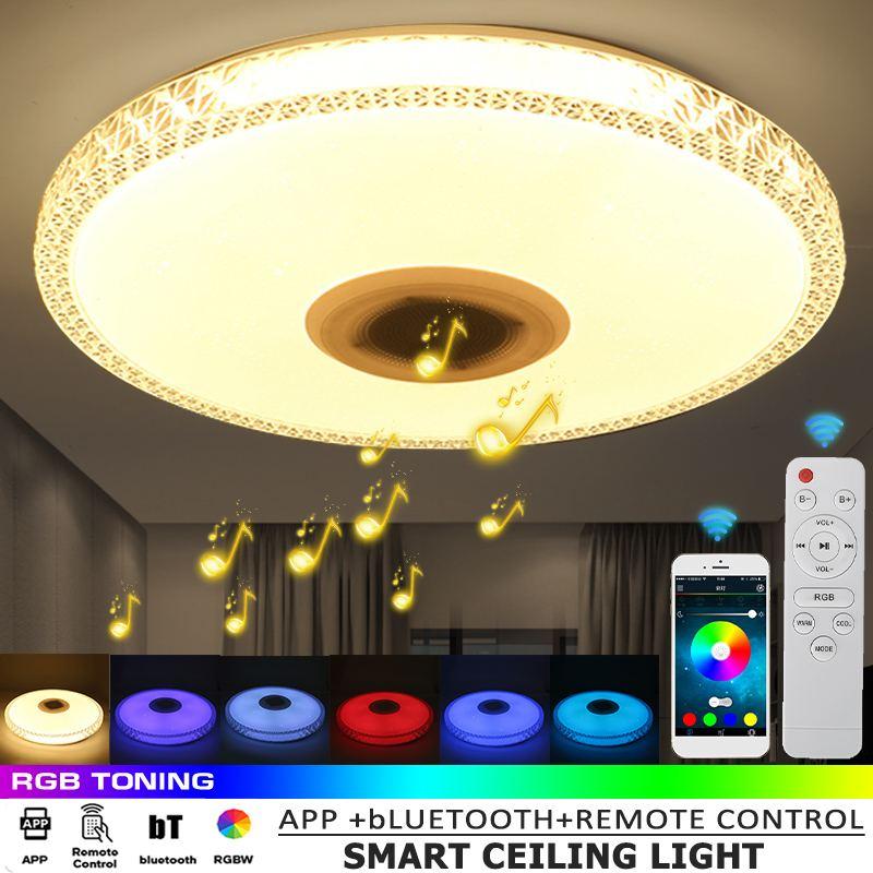 مصباح سقف RGB LED ذكي مع تطبيق تحكم ذكي ، مصباح سقف حديث مع موسيقى بلوتوث لغرفة النوم والمنزل ، 200 واط ، 40 سنتيمتر