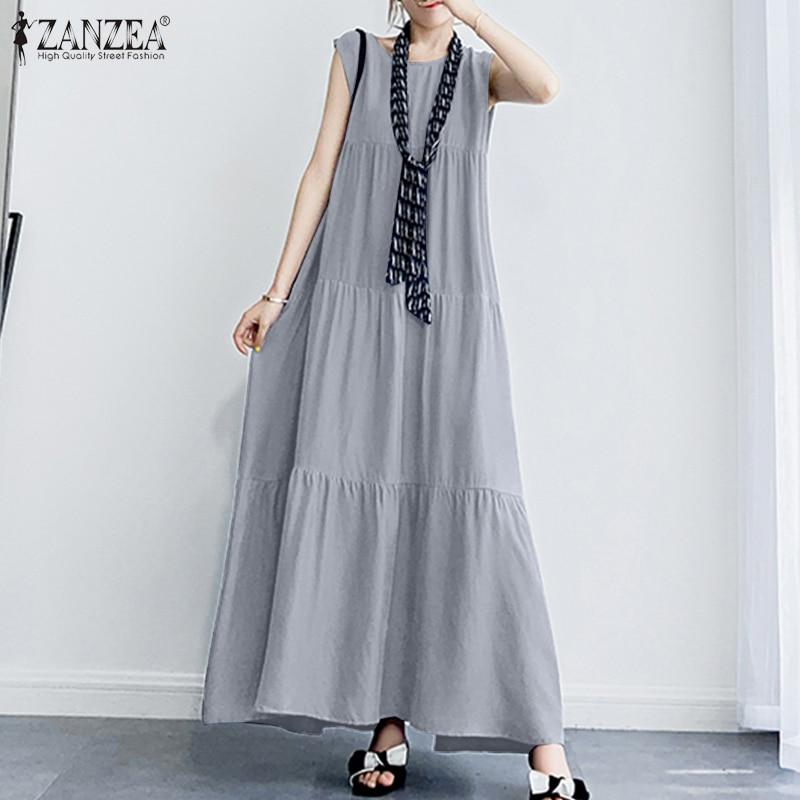 AliExpress - ZANZEA 2021 Stylish Women's Ruffle Sundress Solid Summer Dress Casual Sleeveless Maxi Vestidos Female O neck  Robe Oversized