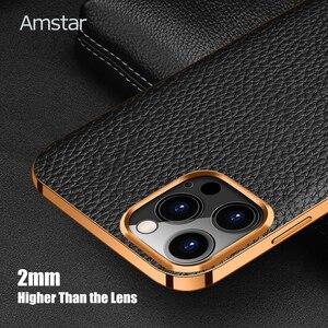 Image 4 - Чехол Amstar из натуральной воловьей кожи для телефона iPhone 12, 11 Pro Max, 12 Mini, X, XR, XS Max, полностью закрытый чехол с золотистой рамкой