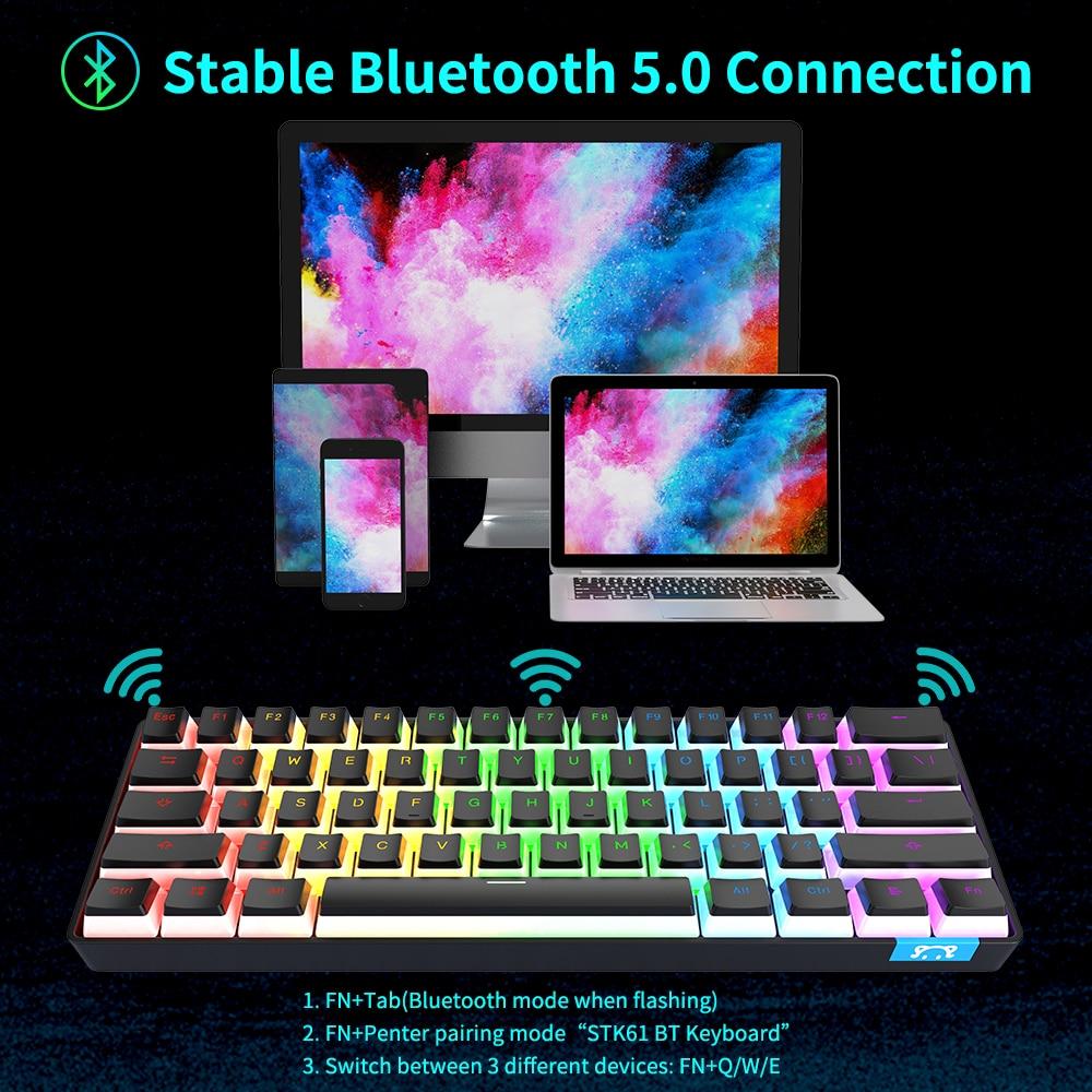 AJAZZ-STK61 mechanical keyboard wireless bluetooth compact 61-key rainbow backlit portable gaming keyboard pudding keycap enlarge