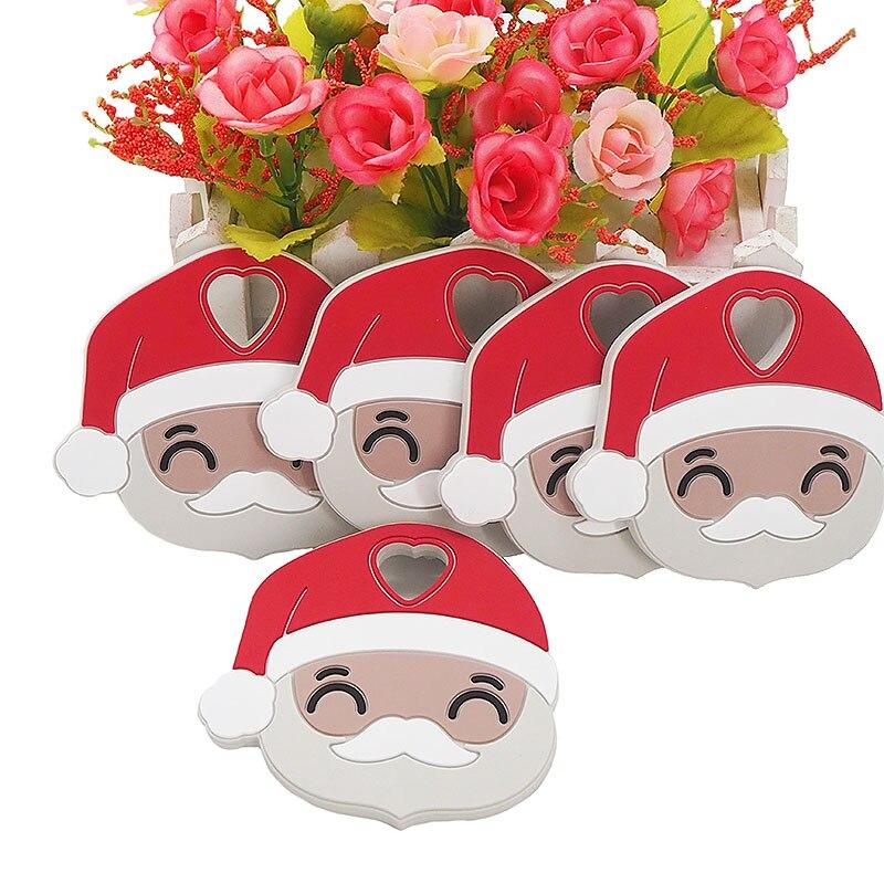 Chenkai 10 Uds de Santa Claus juguete de dibujos animados de bebé lindo chupete libre de BPA para bebé Collar para morder juguete de dentición