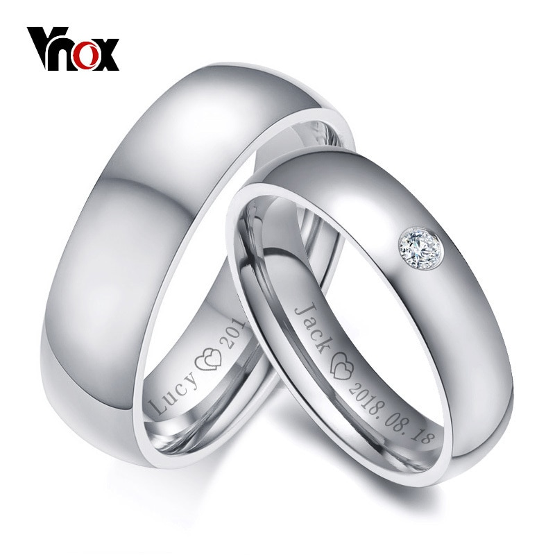 Vnox Basic Wedding Bands Rings for Women Man Customize Name Date Love Info Promise Alliance Anniversary Personalized Gift vnox temperament wedding rings for women men cz stones stainless steel engagement band anniversary personalized gift jewelry