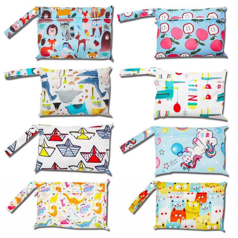 Waterproof Reusable Mini Wet Bag For Menstrual Sanitary Napkin Nursing Pads Printed Wetbag Washable Nappy Diaper Bag 15*22cm
