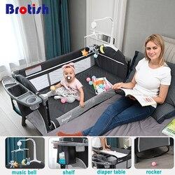 Brotish recém nascido multifuncional berço cama de costura, recém-nascido berço cama, jogo cama, portátil dobrável berço fácil de viajar