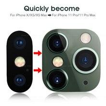Anti-zero modificado metal adesivo segundos mudança câmera lente capa para iphone x xs xr max falso câmera para iphone 11 pro max