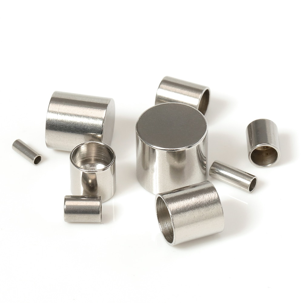 Acero inoxidable 20pcs tapas extremas Fit 1.5 / 2/3/4/5 cuerda de cuero sujetador Fin para prensar accesorios de bricolaje pulsera de joyas