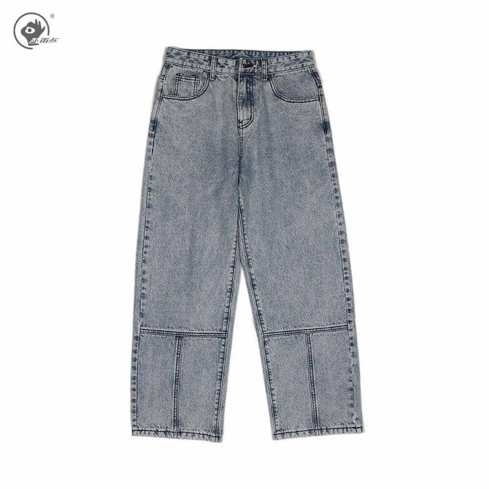 Маленькие дождевые мужские брюки Харадзюку, джинсы, джинсовые брюки 2020, уличная одежда, широкие брюки, джоггеры, синие джинсы, Мужские винта...