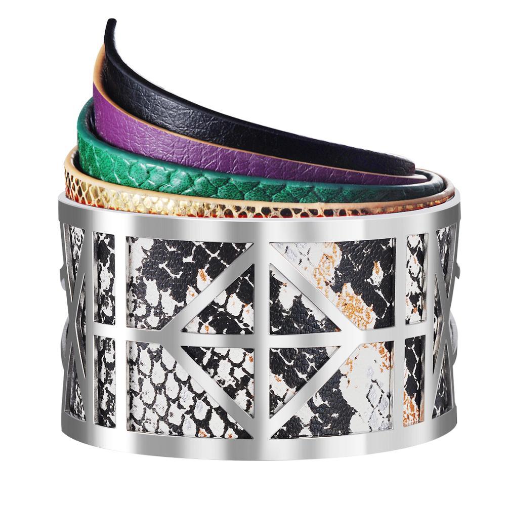 Multi Type Hollow Rvs Manchet Bangle Wrap Rainbow Kleur Verwisselbare Pu Leather & Magneet Knop Armband Vrouwen Geschenken