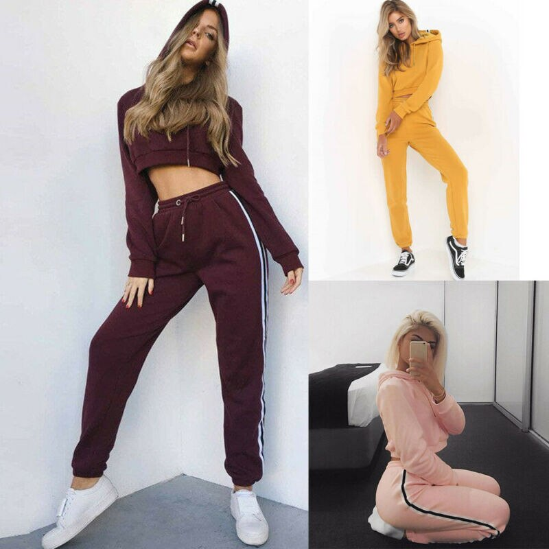 New Fashion Casual Women Long Sleeve Crop Tops Short Hoodie Sweatshirt  Long Pants Jumper Sweater Top Tracksuit 2pcs Set