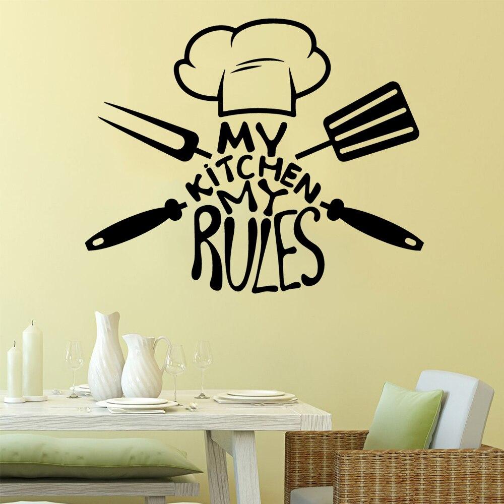 Diy Mein küche meine regeln Vinyl Self Adhesive Wallpaper Für Kinder Zimmer Home Decor Wand Kunst Aufkleber Wandmalereien