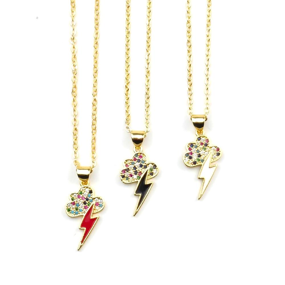 Lleno de oro collar relámpago esmalte rayo collar chicas damas collar de Zirconia cúbico Arco Iris collar nube arcoiris