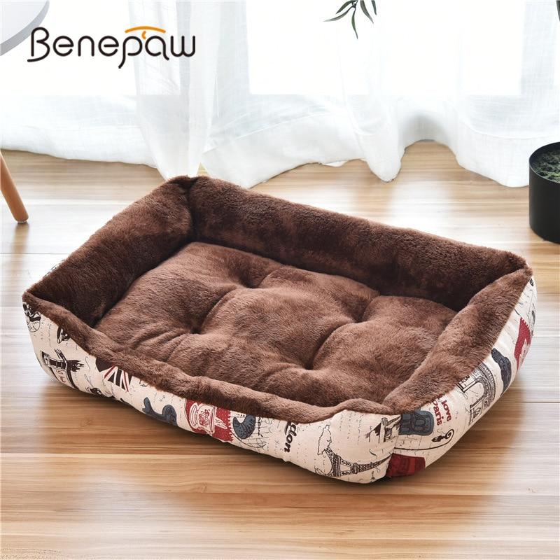 Benepaw confortable respirant lit pour chien pour petit moyen grand chiens qualité résistant aux morsures doux chiot pour animaux de compagnie chiot lit de couchage 4 couleurs