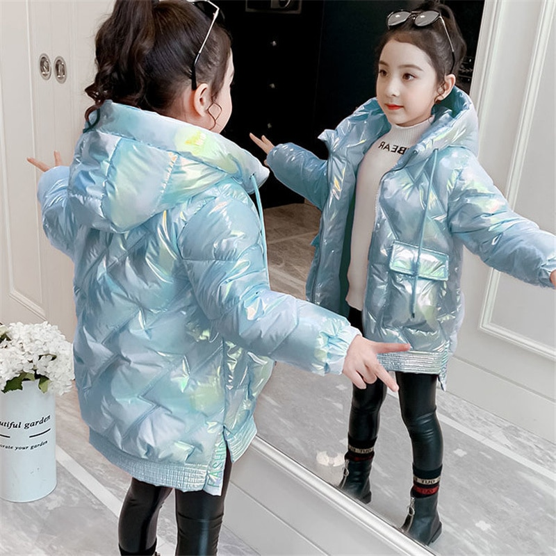 2021 Girls Waterproof Shiny Down Cotton Jacket Thick Warm Hooded Coat Children Outerwear Clothing 5