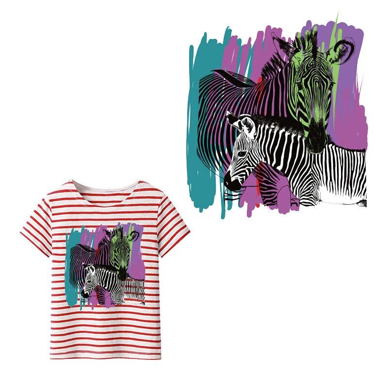 Zebra ferro em remendos para roupas diy camisa jaqueta aplique transferência de calor vinil carta animal adesivo remendo imprensa térmica