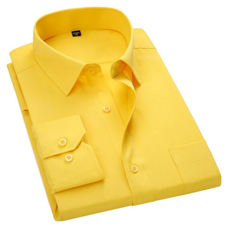 Hommes à manches longues robe cintrée décontracté blanc bleu rouge jaune mâle Social chemise de grande taille 5XL 6XL 7XL 8XL