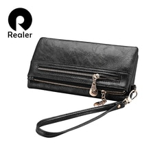 REALER brand new design women wallet long high quality female clutch zipper wallets big capacity purse cellphone bag pocket