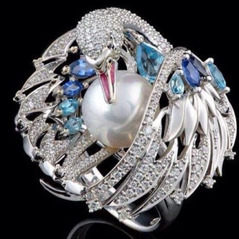 Requintado brilhante luxo do vintage branco swan pérola anel de casamento anéis de noivado para feminino festa da menina jóias femininas