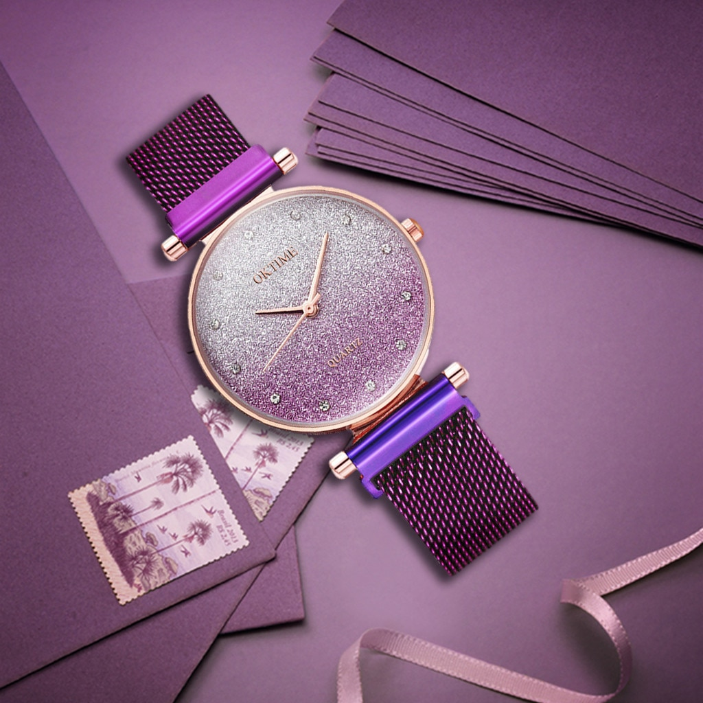 2021 New Fashion Luxurious Quartz Wristwatches Woman Sky Watch Magnet Band Women Quartz Diamond Wris