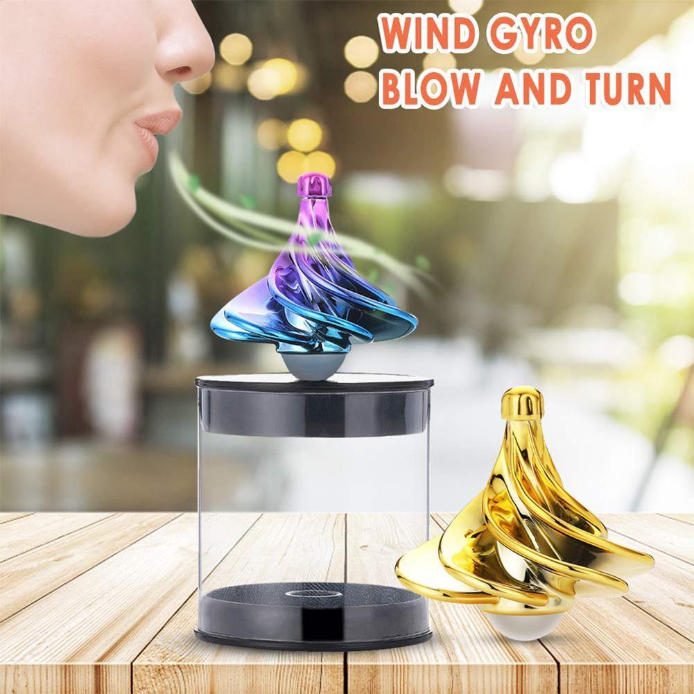 Children Gyro Wind Blow Turn Spinning Top Office Desktop Gyroscope Ball Toy Stress Relief Dreidel Kid Christmas Gift