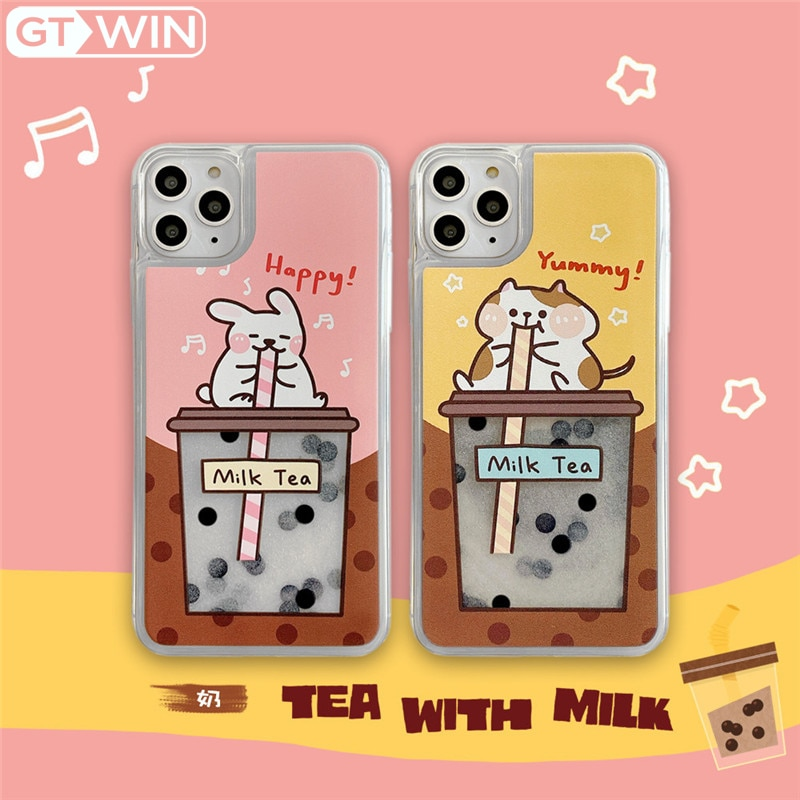 GTWIN Cartoon Quicksand Kaninchen Trinken Perle Milch Tee Telefon Fall Für iPhone 11 Pro X XS Max XR 7 8 plus Nette Weiche TPU Fall Zurück