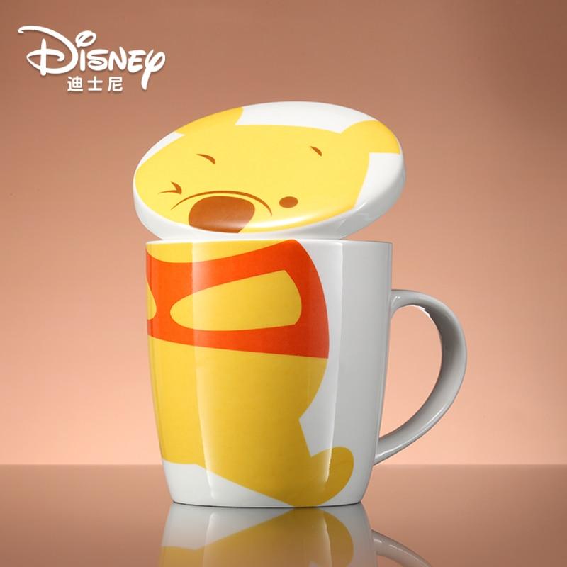 الأصلي ديزني القدح مع غطاء وملعقة كوب سيراميك لطيف الكرتون الحليب فنجان القهوة ويني ذا بو كوب فنجان قهوة الماء