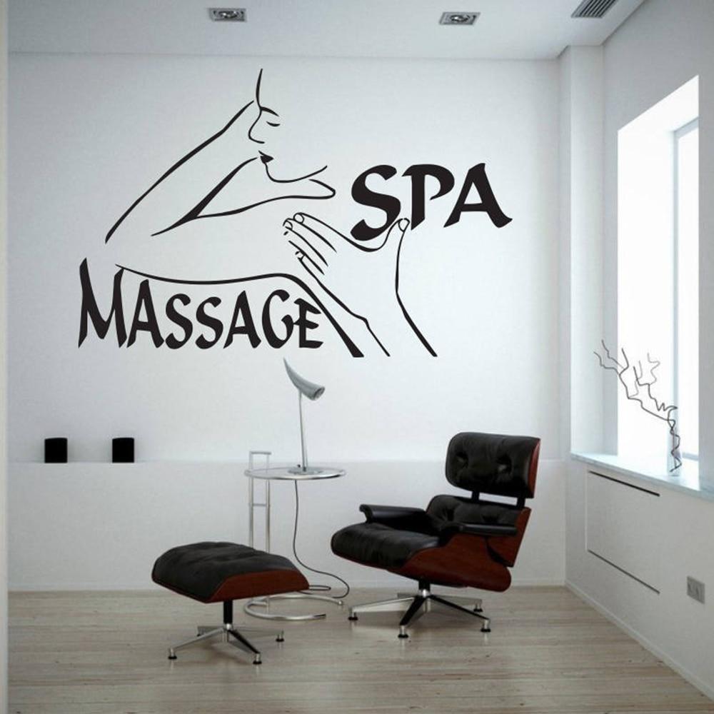 Calcomanía de pared Spa masaje Mural arte de pegatinas de vinilo belleza pared del salón decoración de ventanas Mural extraíble carteles autoadhesivo