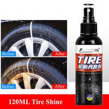 120ML New Tire Shine Tyre Gloss Spray Tire Glazing Keep Tire Black Rubber Protective Auto Tires Coating Car Tyre Wax Tire Polish