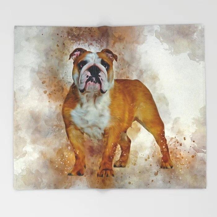 Dog Animal Cartoon Throw Blanket Cute Kids Design Bulldog Art Blankets for Beds Christmas Decorations for Home