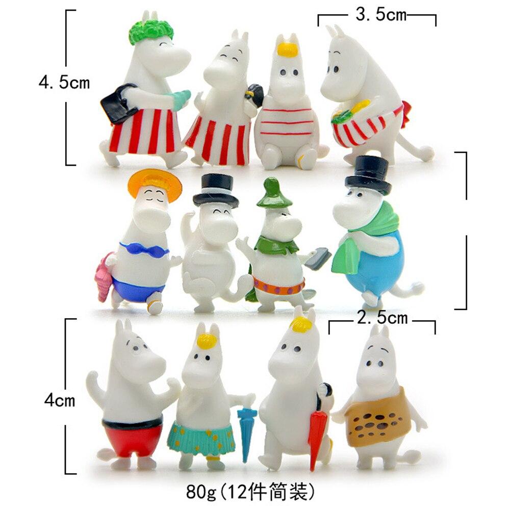 12 pçs/set Crianças Brinquedos Hipopótamo A 4 Moomins Figuras Bonecas de Plástico cm