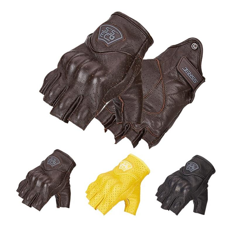 2021 Summer Retro Motorcycle Gloves Pursuit Perforated Real Leather Half finger  Men Women Moto Waterproof Glove Motocross glove