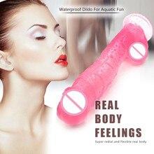 Simuler réaliste gode souple Transparent avec ventouse rose 20.5cm pénis en cristal énorme bite jouets sexuels pour adultes pour femmes et femmes