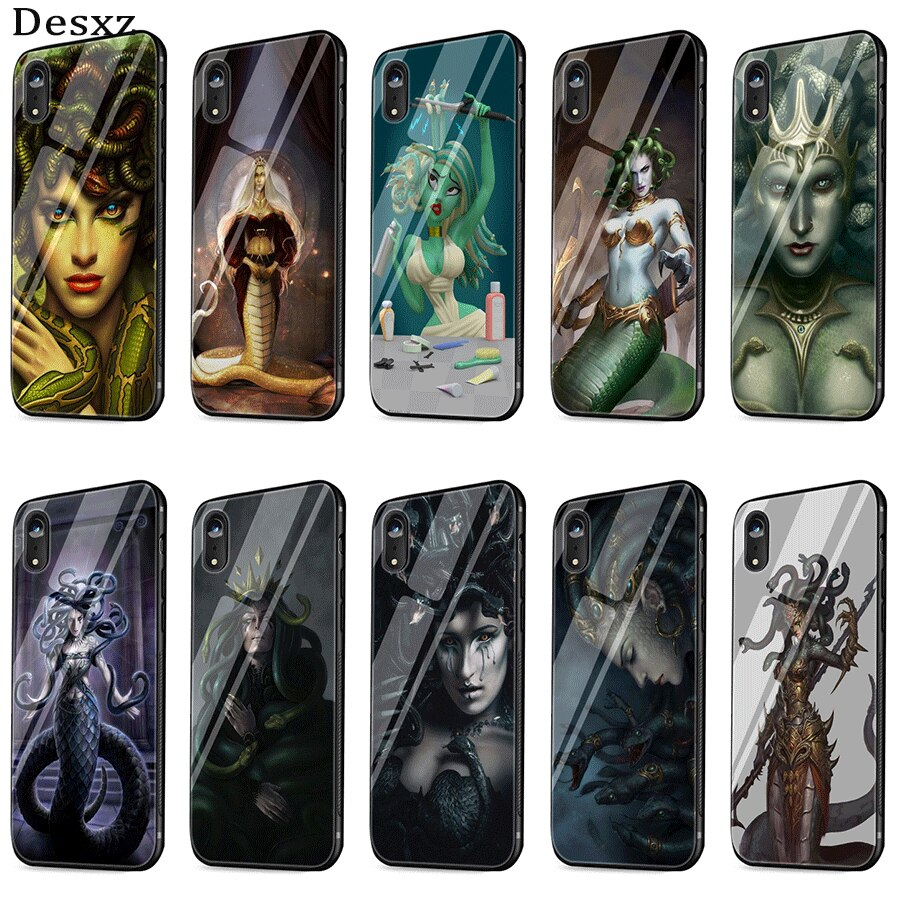 Funda de cristal para teléfono móvil para iPhone 5 5s SE 6 6s 7 8 Plus XR X XS Max cubierta Medusa