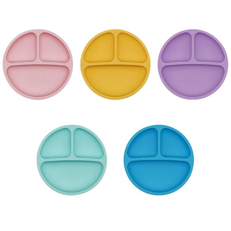 Platos de silicona para bebés, platos de cena de silicona de grado alimenticio, vajilla de alimentación para niños, silicona suave, cara sonriente libre de BPA