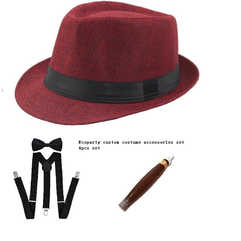 Sombrero panamá de gángster para hombres, corbata de cigarro, 1920, disfraz de fantasía para adultos de la MAFIA