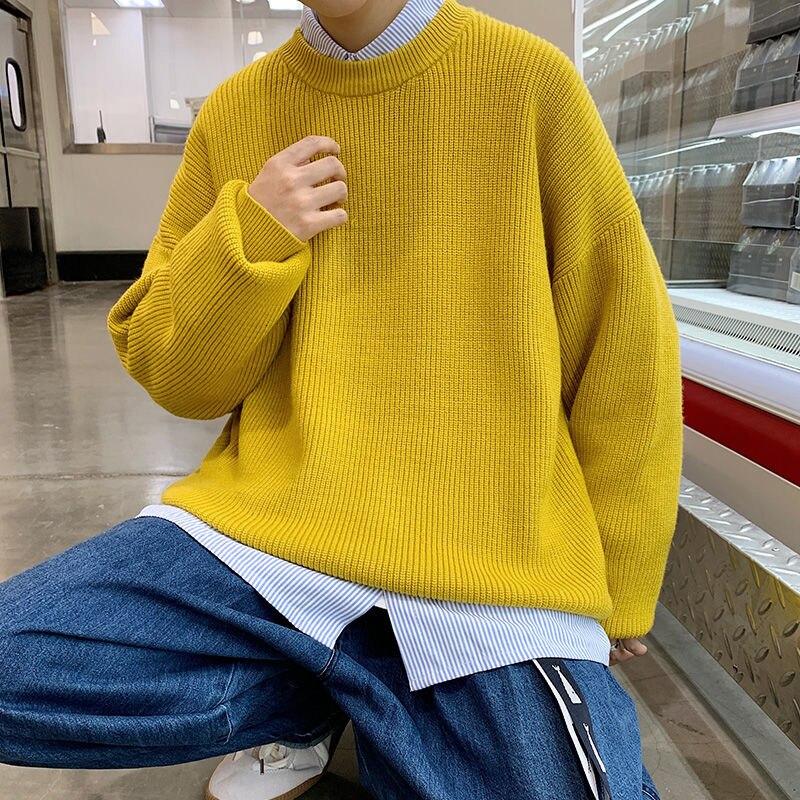 Мужские корейские свитера hecob с круглым вырезом, модные Свободные Повседневные свитера, Мужская Уличная одежда, вязаные свитера с длинными ...