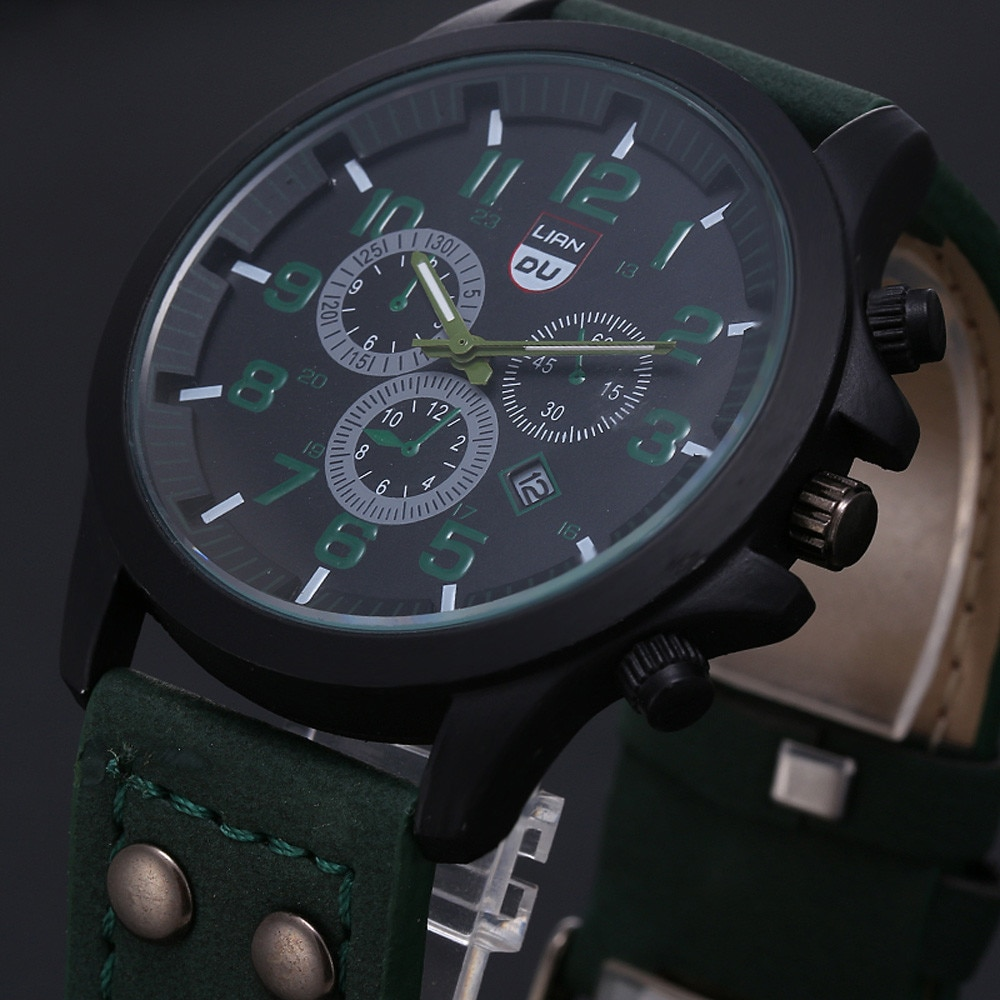 Fashion Quartz Watch Military Leather Watches Band  Mens Waterproof Watch Simple Wrist Watch  Watch Men Calendar montre homme yelang v1021 aviator serier t100 tritium tubes flourescent numbers 100m waterproof leather strap mens quartz wrist watch