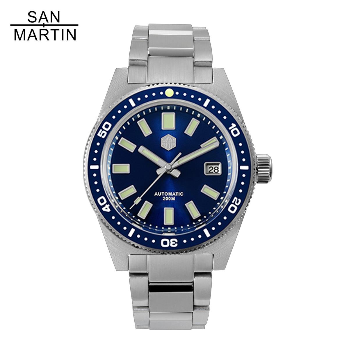 Relógio de Pulso Relojes para Hombre 200m à Prova Martin Inoxidável Mergulho Automático Men Relógios Safira Dwaterproof Água Luminoso San 62mas v4 Aço