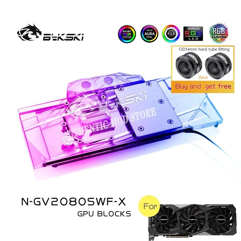Bykski N-GV2080SWF-X غطاء كامل وحدة معالجة الرسومات كتلة المياه لجيجابايت RTX2080/2070/2060 سوبر الألعاب/Windforce OC 8G بطاقة جرافيكس برودة