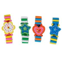 Babys Kids Cartoon Wooden Crafts Wristwatches Bracelet Watch Toy Children Student Xmas Toys Gift Ran