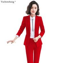 Rouge noir bleu femmes Blazer formel et pantalon costume avec poches inclinées vestes à bouton unique deux pièces ensemble pour dames de bureau